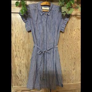 Isabella Sinclair blue & white stripe shirt dress